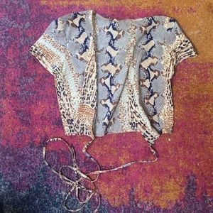 Vintage faux snakeskin wrap crop top